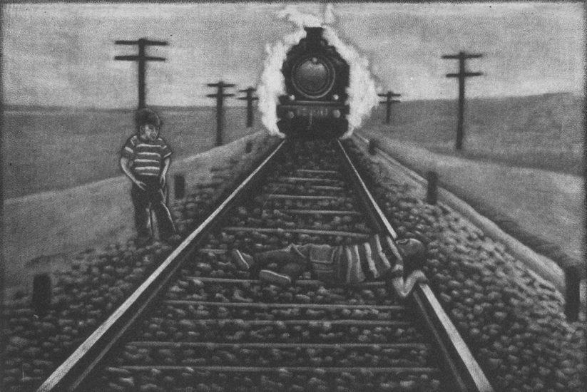 Catching a train 10x15cm, mezzotint, 2020