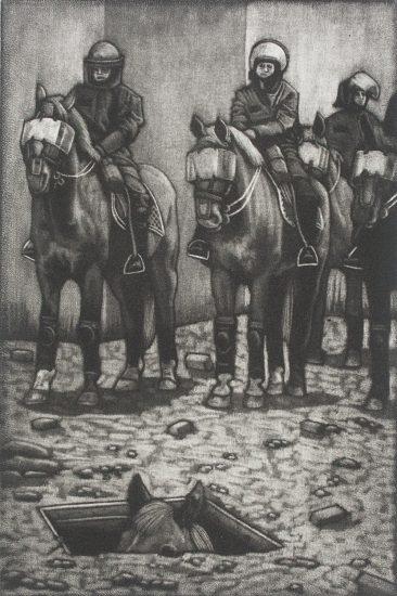 Quit horsing around 10x15cm / mezzotint / 2020