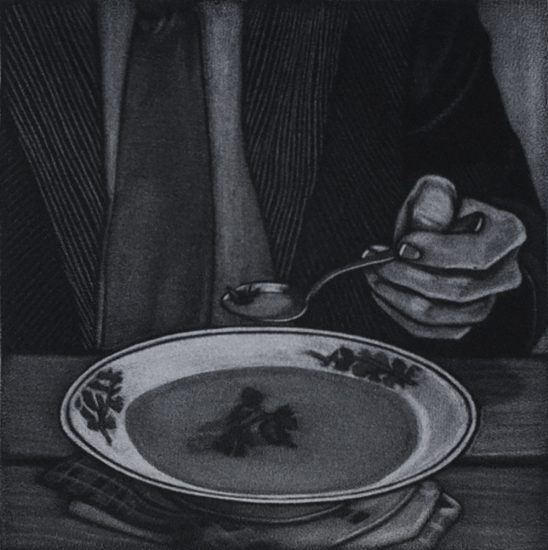 There is soup on my fly, 10x10cm, mezzotint, 2021