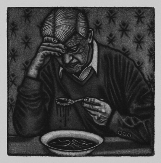 A part of me gets sick, a part of me gets sore, a steady diet of nothing 10x10cm / mezzotint / 2019