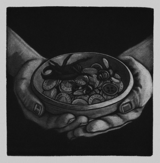 Beggars can't be choosers 10x10cm / mezzotint / 2019