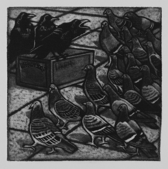 Running through the empty streets, telling people what they should eat 10x10cm / mezzotint / 2019