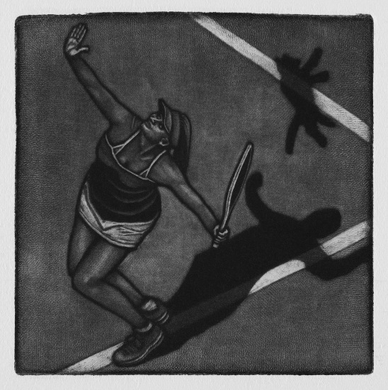 Down the line, 10x10cm, mezzotint, 2019