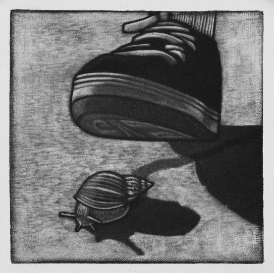 Accidental serial snail killer 10x10cm / mezzotint / 2019